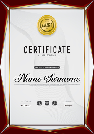 Certificate template luxury and diploma style,vector illustration. Stok Fotoğraf - 111905030