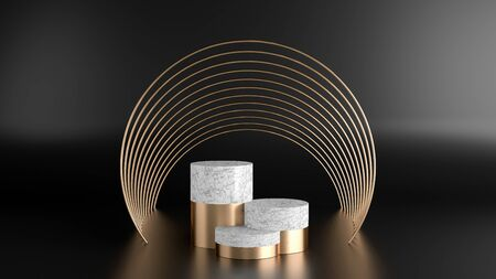 3d render of minimal style polygon with white marble and golden shape.Abstract isolated background concept.