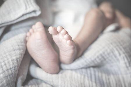 Newborn baby feet on pastel blanket in his bedroom. 免版税图像