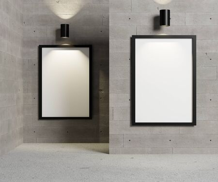Blank art and picture frame on concrete wall with spot light.Interior design for advertising banner concept or media display background.3D render illustration.