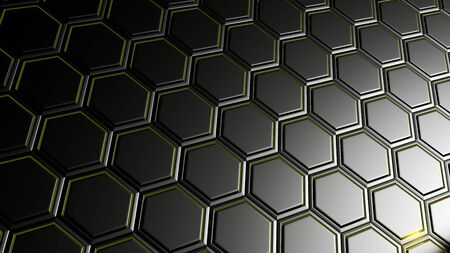 3d render of abstract background with  hexagon in black metallic design.Technology concept. 免版税图像