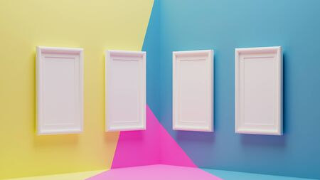 3d rendering of white picture frame on modern wallpaper in abstract concept. 免版税图像