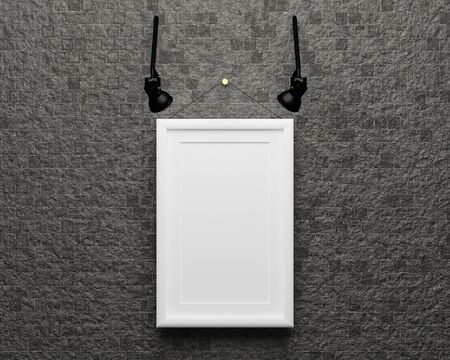 Blank picture frame  hanging on the wall for insert your photo.3d render illustration. 免版税图像