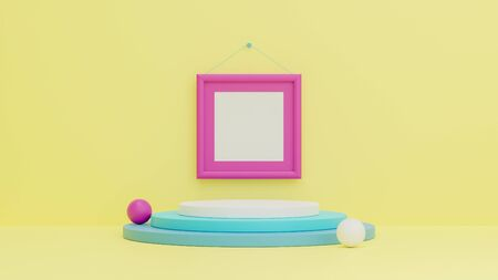 3d render of minimal style podium or pedestal on colourful pastel background.Abstract concept.