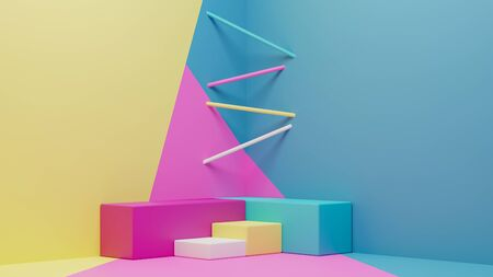 3d rendering of colorful geometric podium and modern wallpaper in abstract concept.