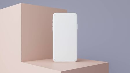 Mobile phone mockup with blank screen on pastel color background.3d render. 免版税图像