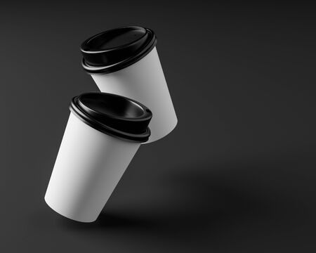 Blank coffee cup with plastic lid on isolate background.3d rendering illustration.