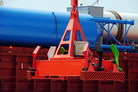 Automatic spreader on the background of the deck cargo Stock Photo - 17397969