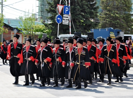 papakha:  Cossack parade on April 21, 2012 in Krasnodar, Russia  7 thousand Cossacks of historical departments of the Kuban Cossack army  Editorial