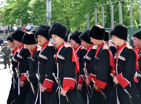 papakha: Cossack parade on April 21, 2012 in Krasnodar, Russia  7 thousand Cossacks of historical departments of the Kuban Cossack army