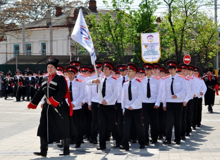 rehabilitated people: Cossack parade on April 21, 2012 in Krasnodar, Russia  7 thousand Cossacks of historical departments of the Kuban Cossack army