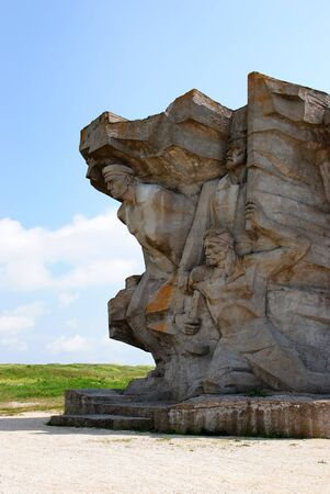 Monument to defenders of Adzhimushkay quarry established on the site of catacombs near Adzhimushkay village in the II World War on May 12, 2010 in Kerch, Ukraine   Stock Photo - 17355591