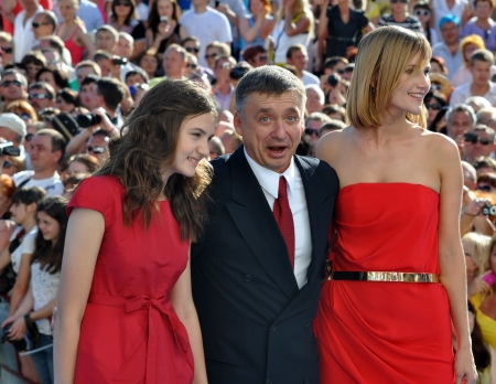 Anton Tabakov and his wife and daughter at the Open Russian Film Festival  Kinotavr  on June 3, 2012, Sochi, Russia  Stock Photo - 17355587