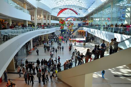 A crowd of people shopping in the shopping center  Moremoll  on the opening day on OCTOBER 27, 2012, Sochi, Russia  The investment amounted to 7 5 billion rubles