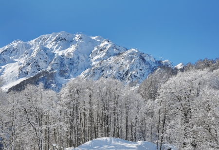 Ski resort in Krasnaya Polyana, Sochi  Cable care on the Aibga ridge photo