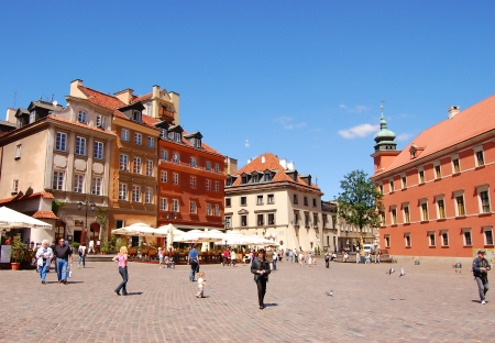 Tourists at the Marlet Square in Old Town on May 25, 2009 in Warsaw, Poland  This is part of the medieval city, with original street facade of the Renaissance, which in XIII century, occupied an area of 20 hectares