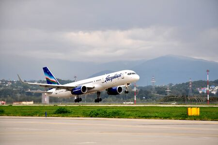 SOCHI,RUSSIA-AUGUST16   Boeing-757-200 of Yakutia airlines on rise on August 16, 2012 in Sochi, Russia  In 2012  Yakutia  flies to 11 destinations within the program of subsidized transport residents of the Arctic zone of Yakutia