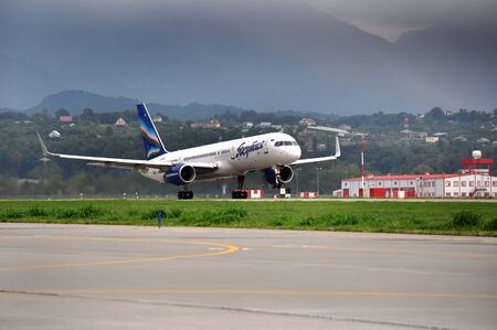 arctic zone: SOCHI,RUSSIA-AUGUST16   Boeing-757-200 of Yakutia airlines on rise on August 16, 2012 in Sochi, Russia  In 2012  Yakutia  flies to 11 destinations within the program of subsidized transport residents of the Arctic zone of Yakutia