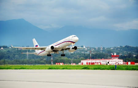 The TU-214SUS Russian government Squadron takes off from the airport of Sochi on August 16, 2012 in Sochi, Russia  This liner is designed to carry the head of state and government delegations  Stock Photo - 17355542