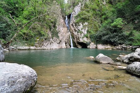 Waterfalls in Agura river canyon, Sochi National Park Stock Photo - 17400025