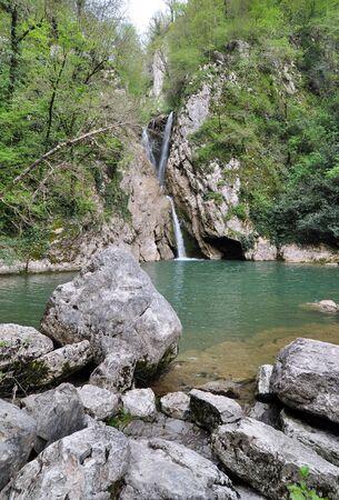 Waterfalls in Agura river canyon, Sochi National Park  Stock Photo - 17399742