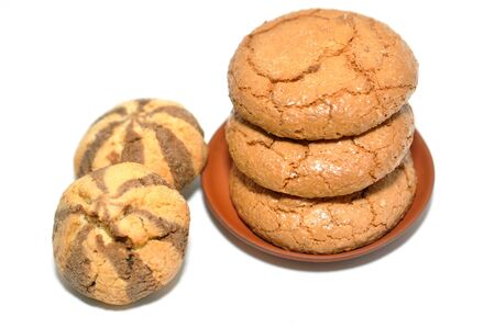Macaroons and almond cookies on white Stock Photo - 17398422