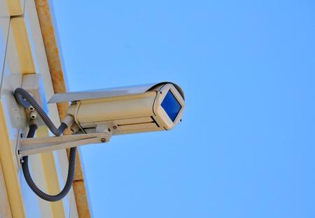 sky bachground: Security camera on the blue sky