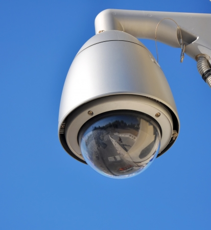 dome type: Dome type surveillance camera with blue sky background