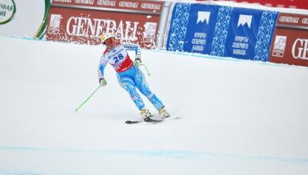 SOCHI, RUSSIA - FEBRUARY 18: Anja Paerson competes in the FIS Alpine Ski World Cup 2011/2012 on February 18, 2012 Russia, Sochi, Rosa Khutor Stock Photo - 17401921