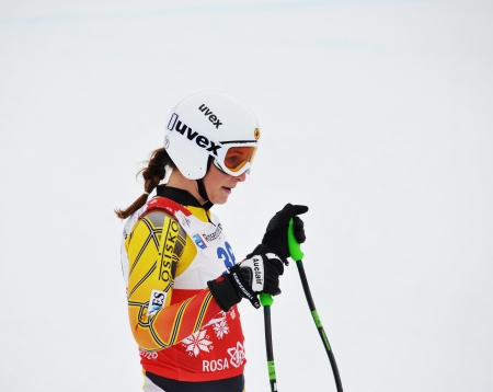 SOCHI, RUSSIA - FEBRUARY 18: Larisa Yurkiw competes in the FIS Alpine Ski World Cup 20112012 on February 18, 2012 Russia, Sochi, Rosa Khutor