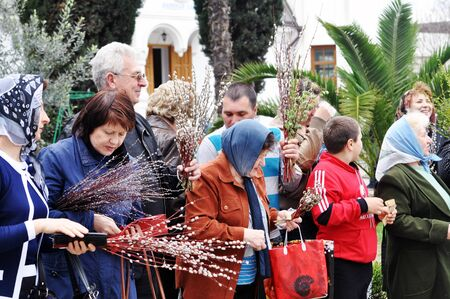 palm sunday: SOCHI, RUSSIA � APRIL 15  Parishioners of the Cathedral of Archangel Michael in Sochi celebrate Palm Sunday on May 15, 2012