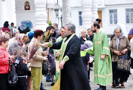 palm sunday: SOCHI, RUSSIA � APRIL 15: Parishioners of the Cathedral of Archangel Michael in Sochi celebrate Palm Sunday on May 15, 2012