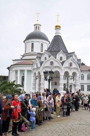 palm sunday: SOCHI, RUSSIA � APRIL 15  Parishioners of the Cathedral of Archangel Michael in Sochi celebrate Palm Sunday on April 15, 2012 Editorial
