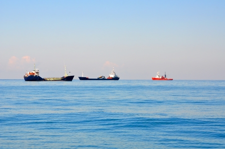 Cargo shipping in a Black Sea near Sochi Stock Photo