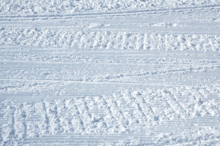 ski traces: Traces of a snowmobile on the ski slopes