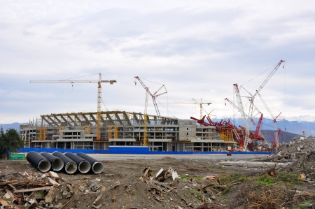 SOCHI, RUSSIA - JANUARY 8  Construction of the main stadium in the Olympic Park in January 8, 2012 Sochi, Russia for the Winter Olympic Games 2014 and World Cup 2018 Editorial