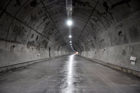 Concrete tunnel inside construction Stock Photo