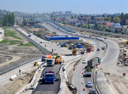 SOCHI, RUSSIA - July 26  Construction of a two-tier road interchange  Adler Ring  in Sochi, Russia in July 26, 2012  The project cost of this transportation hub - 5 billion rubles
