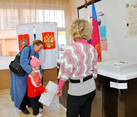 SOCHI, RUSSIA - DECEMBER 4  Voting in elections to the State Duma of the Russian Federation on December 4, 2011 in Sochi, Russia   Stock Photo - 17491142