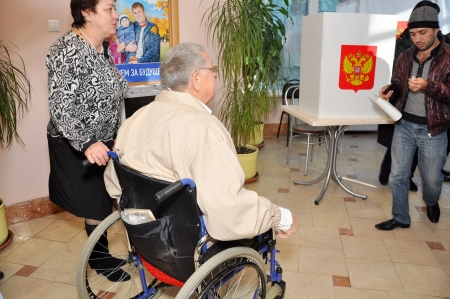 SOCHI, RUSSIA - DECEMBER 4  Voting in elections to the State Duma of the Russian Federation on December 4, 2011 in Sochi, Russia  Polling stations for people with disabilities Stock Photo - 17491066