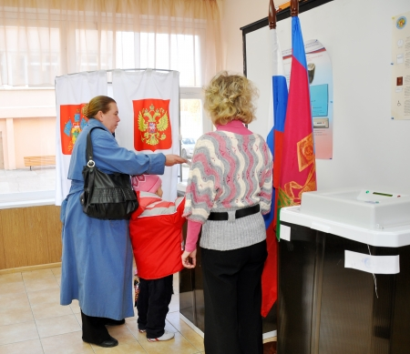 SOCHI, RUSSIA - DECEMBER 4  Voting in elections to the State Duma of the Russian Federation on December 4, 2011 in Sochi, Russia   Stock Photo - 17491145