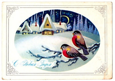 USSR - CIRCA 1979  Soviet postcard depicting birds in the magic forest near winter village, circa 1979 Text in Russian  Happy New Year