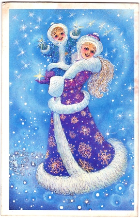 snegurochka: USSR - CIRCA 1990  Soviet New Year postcard depicting Snow Maiden  Snegurochka  with child in the magic forest, circa 1990  Editorial