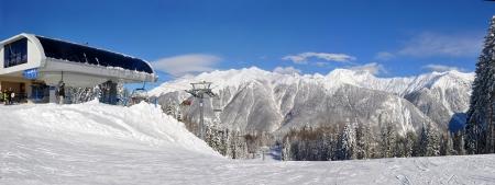 russia: Krasnaya Polyana ski resort in Sochi, Russia - Stitched Panorama