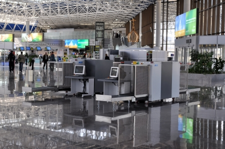 Inspection of baggage at International Sochi airport, which takes the 8th place in Russia on a passenger traffic whith more than 2 mln passengers a year