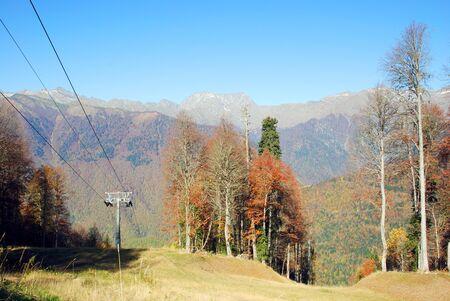 autum: Gondola lift in autum mountains, Sochi, Russia