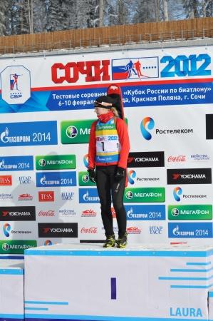 first step: Sochi, Russland - 10. Februar Cup of Russia am Biathlon in Sotschi am 10. Februar 2012 Die kombinierte Ski-Biathlon komplexen Laura f�r die Spiele 2014 Darya Novikova im ersten Schritt von einem Podium