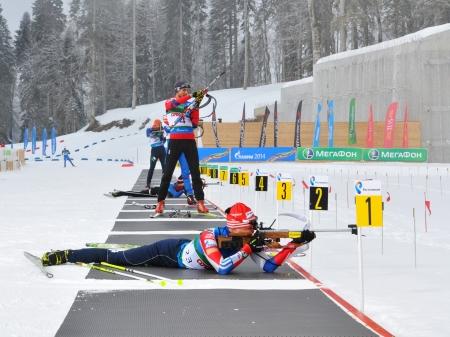 aleksander: Olympic Games 2014. Training before mans race of prosecution. On a firing line Aleksander Kuzmin, Dmitry Jaroshenko and other