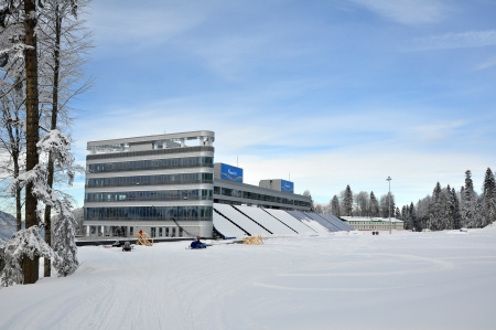 Stage of building of combined ski and biathlon sports center  Laura  to the Olympic Games 2014 in Sochi, Russia