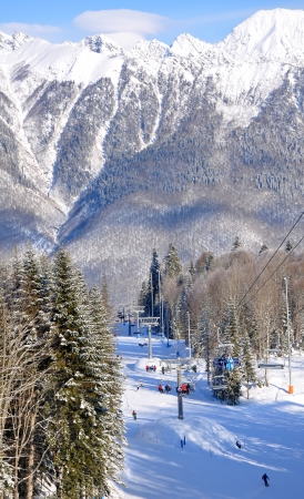 Winter mountain-skiing season in Krasnaya Polyana, Sochi photo